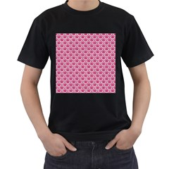 SCALES2 WHITE MARBLE & PINK DENIM Men s T-Shirt (Black) (Two Sided)