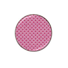 Scales2 White Marble & Pink Denim Hat Clip Ball Marker (4 Pack)