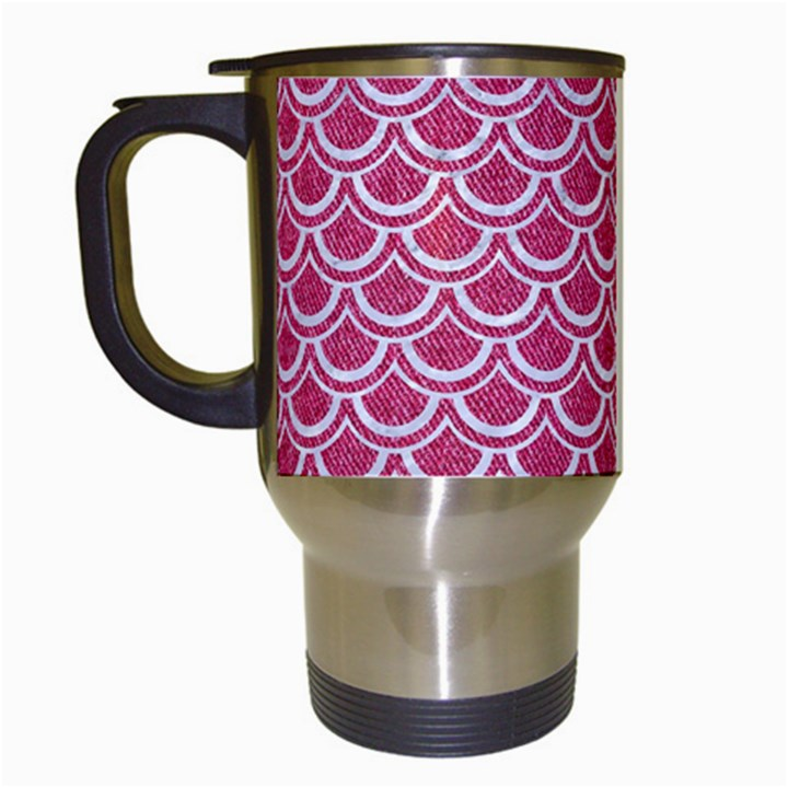 SCALES2 WHITE MARBLE & PINK DENIM Travel Mugs (White)