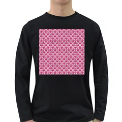 SCALES2 WHITE MARBLE & PINK DENIM Long Sleeve Dark T-Shirts