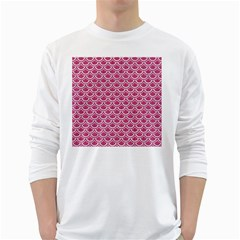 SCALES2 WHITE MARBLE & PINK DENIM White Long Sleeve T-Shirts