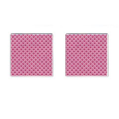 Scales2 White Marble & Pink Denim Cufflinks (square)