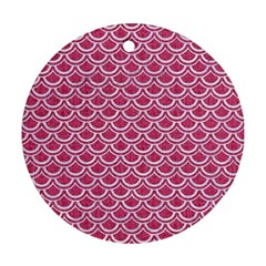 Scales2 White Marble & Pink Denim Round Ornament (two Sides) by trendistuff