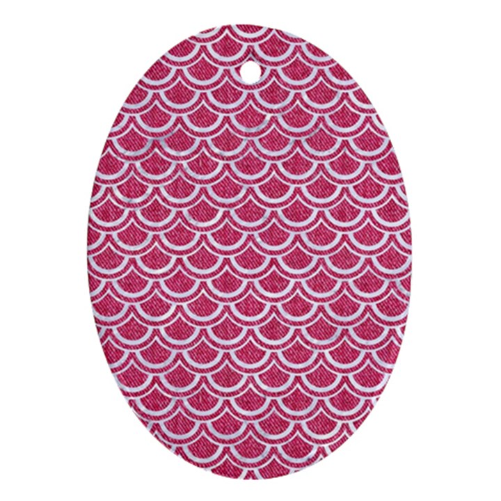 SCALES2 WHITE MARBLE & PINK DENIM Oval Ornament (Two Sides)