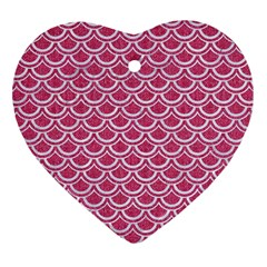 SCALES2 WHITE MARBLE & PINK DENIM Heart Ornament (Two Sides)