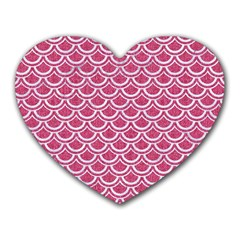 SCALES2 WHITE MARBLE & PINK DENIM Heart Mousepads