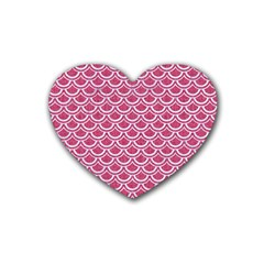 SCALES2 WHITE MARBLE & PINK DENIM Rubber Coaster (Heart)