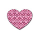 SCALES2 WHITE MARBLE & PINK DENIM Heart Coaster (4 pack)  Front