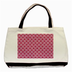 Scales2 White Marble & Pink Denim Basic Tote Bag (two Sides) by trendistuff