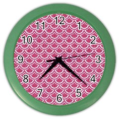 SCALES2 WHITE MARBLE & PINK DENIM Color Wall Clocks