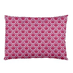 Scales2 White Marble & Pink Denim Pillow Case