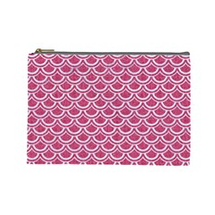 SCALES2 WHITE MARBLE & PINK DENIM Cosmetic Bag (Large)