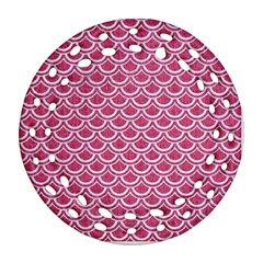 Scales2 White Marble & Pink Denim Ornament (round Filigree)