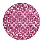 SCALES2 WHITE MARBLE & PINK DENIM Ornament (Round Filigree) Front