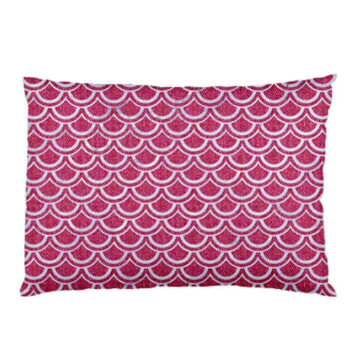 SCALES2 WHITE MARBLE & PINK DENIM Pillow Case (Two Sides)