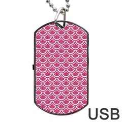 SCALES2 WHITE MARBLE & PINK DENIM Dog Tag USB Flash (One Side)