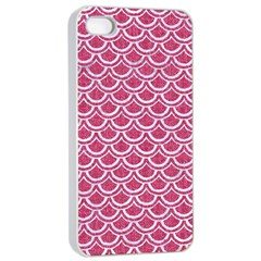 SCALES2 WHITE MARBLE & PINK DENIM Apple iPhone 4/4s Seamless Case (White)