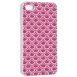 SCALES2 WHITE MARBLE & PINK DENIM Apple iPhone 4/4s Seamless Case (White) Front