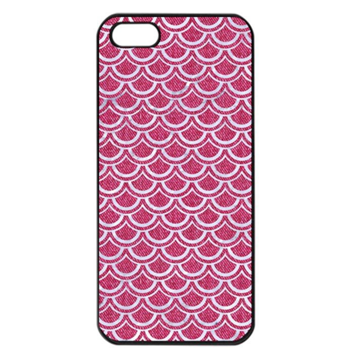 SCALES2 WHITE MARBLE & PINK DENIM Apple iPhone 5 Seamless Case (Black)