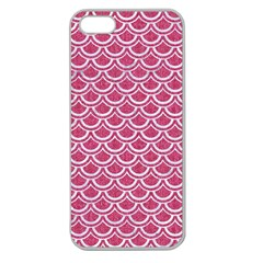 Scales2 White Marble & Pink Denim Apple Seamless Iphone 5 Case (clear) by trendistuff