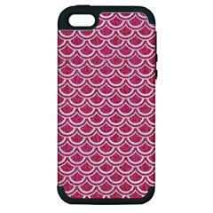 SCALES2 WHITE MARBLE & PINK DENIM Apple iPhone 5 Hardshell Case (PC+Silicone)