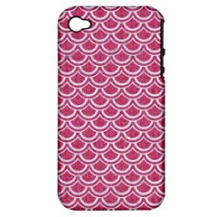Scales2 White Marble & Pink Denim Apple Iphone 4/4s Hardshell Case (pc+silicone) by trendistuff