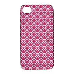 Scales2 White Marble & Pink Denim Apple Iphone 4/4s Hardshell Case With Stand by trendistuff