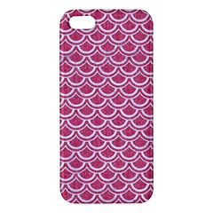 Scales2 White Marble & Pink Denim Apple Iphone 5 Premium Hardshell Case by trendistuff
