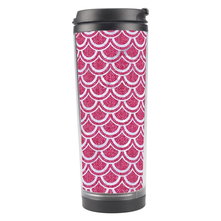 SCALES2 WHITE MARBLE & PINK DENIM Travel Tumbler