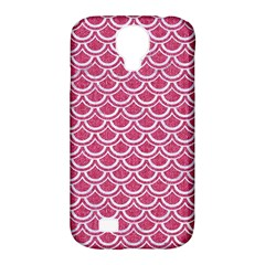 Scales2 White Marble & Pink Denim Samsung Galaxy S4 Classic Hardshell Case (pc+silicone) by trendistuff