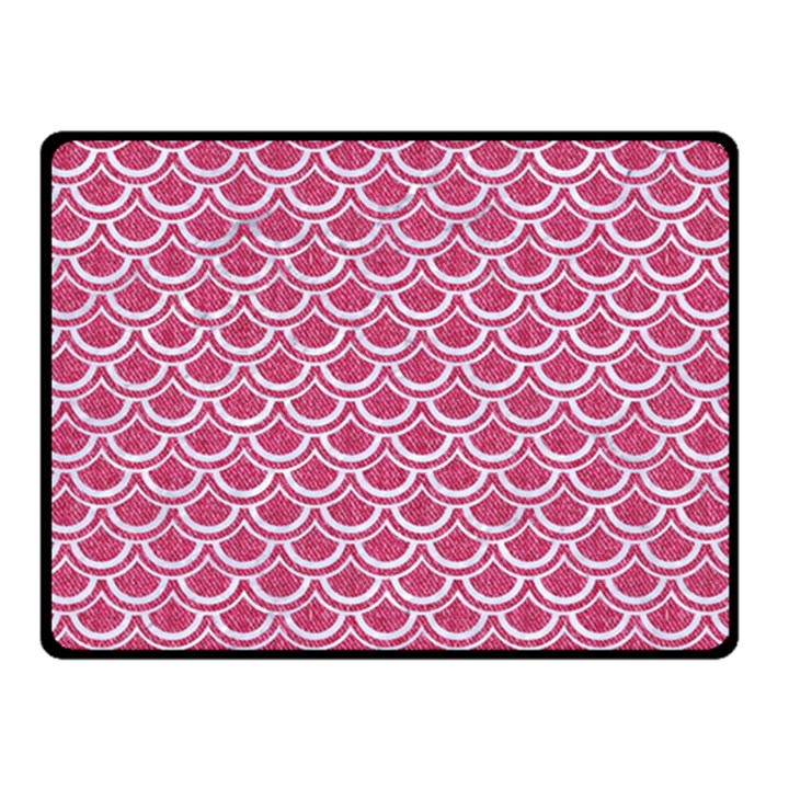 SCALES2 WHITE MARBLE & PINK DENIM Double Sided Fleece Blanket (Small)