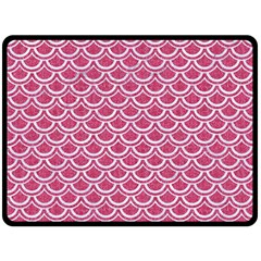 SCALES2 WHITE MARBLE & PINK DENIM Double Sided Fleece Blanket (Large)