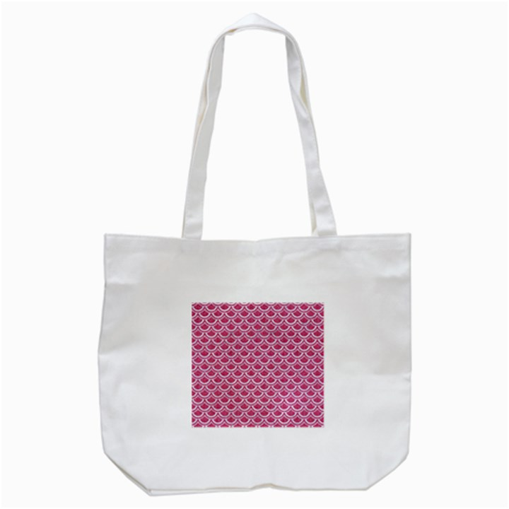 SCALES2 WHITE MARBLE & PINK DENIM Tote Bag (White)