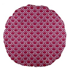 SCALES2 WHITE MARBLE & PINK DENIM Large 18  Premium Flano Round Cushions