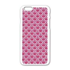 SCALES2 WHITE MARBLE & PINK DENIM Apple iPhone 6/6S White Enamel Case
