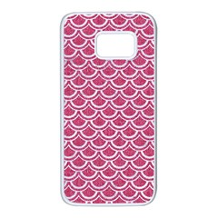 Scales2 White Marble & Pink Denim Samsung Galaxy S7 White Seamless Case by trendistuff