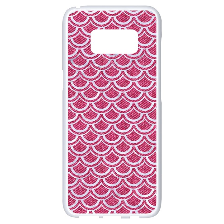 SCALES2 WHITE MARBLE & PINK DENIM Samsung Galaxy S8 White Seamless Case
