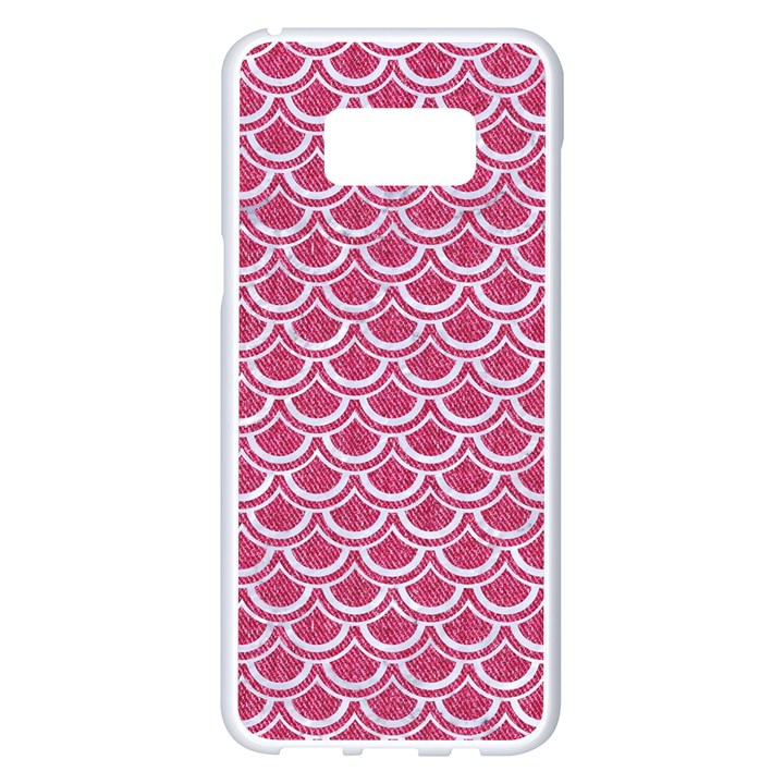 SCALES2 WHITE MARBLE & PINK DENIM Samsung Galaxy S8 Plus White Seamless Case