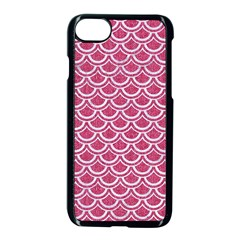 SCALES2 WHITE MARBLE & PINK DENIM Apple iPhone 8 Seamless Case (Black)