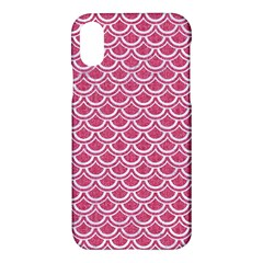 SCALES2 WHITE MARBLE & PINK DENIM Apple iPhone X Hardshell Case