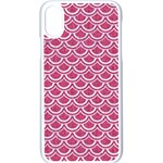 SCALES2 WHITE MARBLE & PINK DENIM Apple iPhone X Seamless Case (White) Front