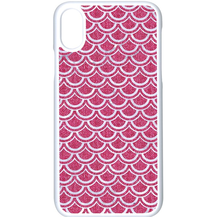 SCALES2 WHITE MARBLE & PINK DENIM Apple iPhone X Seamless Case (White)
