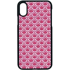 SCALES2 WHITE MARBLE & PINK DENIM Apple iPhone X Seamless Case (Black)