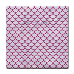 Scales1 White Marble & Pink Denim (r) Tile Coasters