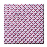 SCALES1 WHITE MARBLE & PINK DENIM (R) Tile Coasters Front