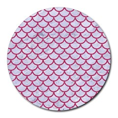 Scales1 White Marble & Pink Denim (r) Round Mousepads
