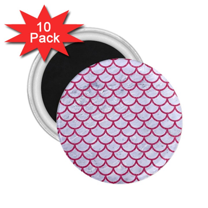 SCALES1 WHITE MARBLE & PINK DENIM (R) 2.25  Magnets (10 pack)