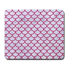 Scales1 White Marble & Pink Denim (r) Large Mousepads