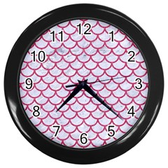 Scales1 White Marble & Pink Denim (r) Wall Clocks (black) by trendistuff