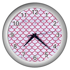Scales1 White Marble & Pink Denim (r) Wall Clocks (silver)